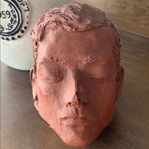 Vintage unsigned clay head sculptured art